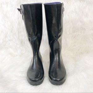 Sperry Top Sider Black Rainboots Size 10